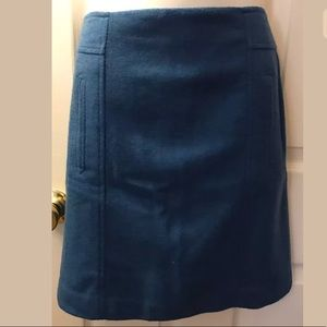 New TALBOTS Blue Pencil Skirt wool Exposed Zip